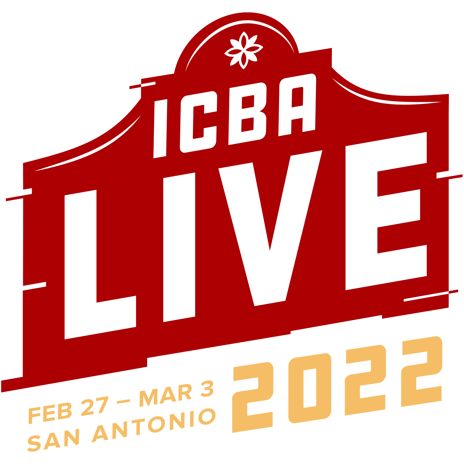 ICBA LIVE 2022 Red and Gold Logo